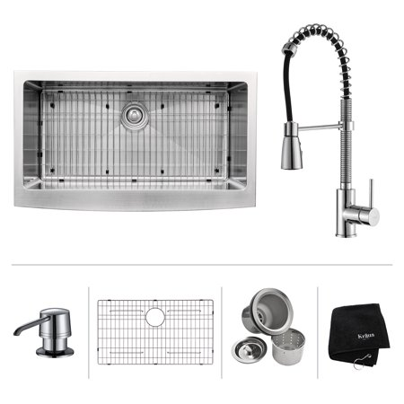 KRAUS 36 Inch Farmhouse Single Bowl Stainless Steel Kitchen Sink with Commercial Style Kitchen Faucet & Soap Dispenser in