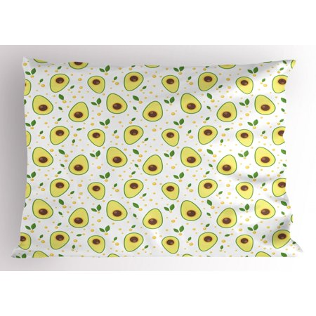 Vegan Pillow Sham, Graphic Avocados Eco Organic and Raw Product Healthcare Clean Eating, Decorative Standard Size Printed Pillowcase, 26 X 20 Inches, Green Pale Yellow Brown, by - Organic Standard Pillowcase