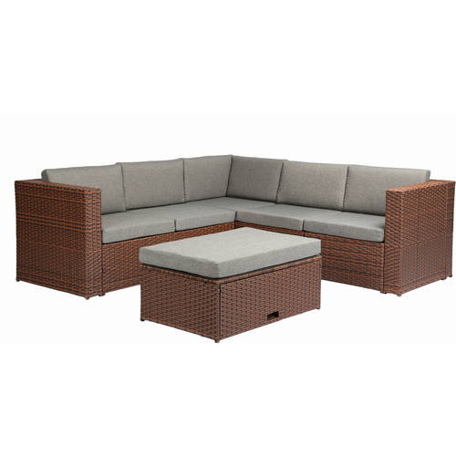 Baner Garden Outdoor Furniture Complete Patio Cushion PE Wicker Rattan Garden Corner Sofa Couch Set, Brown, 4 Pieces by Caesar Hardware