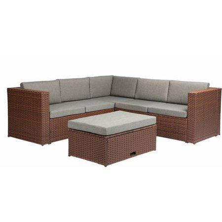 Baner Garden Outdoor Furniture Complete Patio Cushion Pe Wicker Rattan Corner Sofa Couch Set