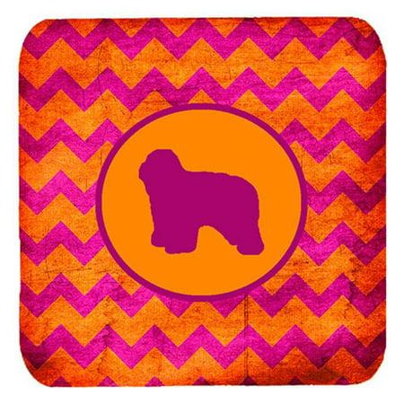 Polish Lowland Sheepdog Chevron Pink And Orange Foam Coasters, Set Of 4 - image 1 de 1
