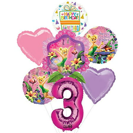 Tinkerbell 3rd Birthday Party Supplies and Balloon Bouquet Decorations for $<!---->