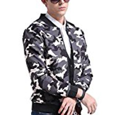 LanLan Rib Bottom Coat Hooded Faux Leather Jackets for Men with Zip Closure Camouflage 3XL