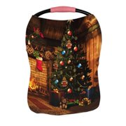 ECZJNT Fairytale cottage Christmas tree colorful gifts fireplace Nursing Cover Baby Breastfeeding Infant Feeding Cover Baby Car Seat Cover