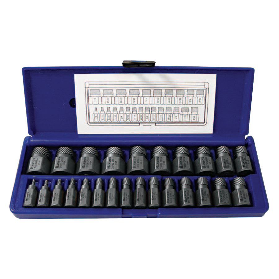 Irwin Hanson Hex Head Multi-Spline Screw Extractors - 532 Series - Plastic Case Sets