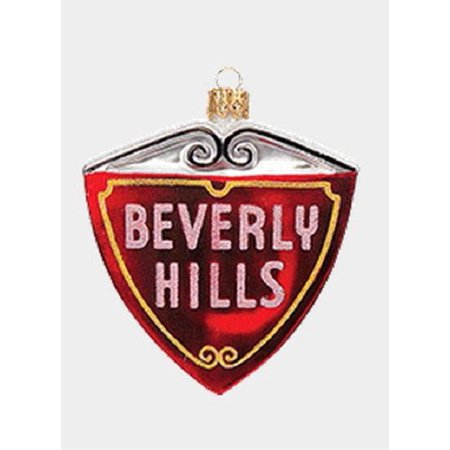 Beverly Hills Street Sign Polish Glass Christmas Ornament California