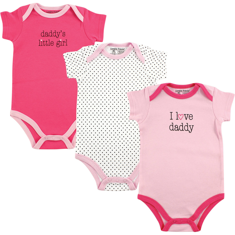 Luvable Friends Newborn Baby Girls Bodysuit 3-Pack, Girl Daddy