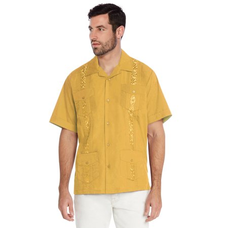 Vkwear Men S Guayabera Cuban Beach Wedding Casual Short Sleeve Dress Shirt Yellow 4xl