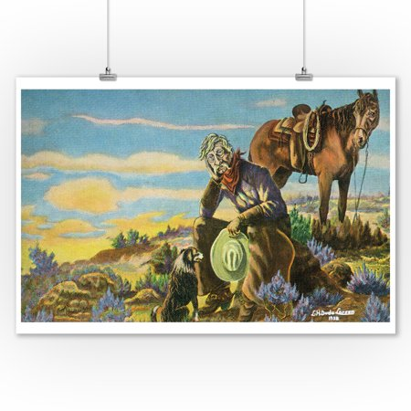 Western Scene - Cowboy with Horse and Dog Contemplating (9x12 Art Print, Wall Decor Travel Poster) - Casino Cowboy Scene