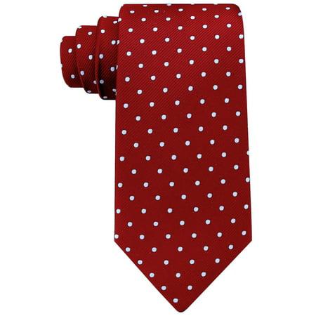 Burgundy Neckties for Men - Burgundy Red and White Polka Dot Tie - Polkadot Neckwear Red Dotted Mens Tie