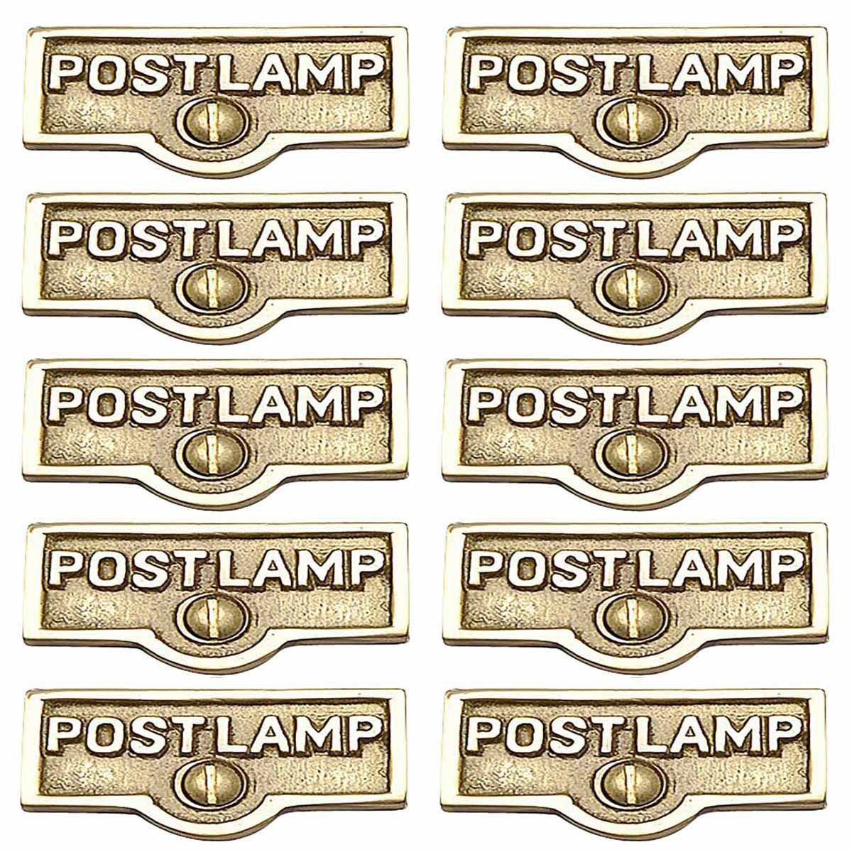 10 Switch Plate Tags POST LAMP Name Signs Labels Brass | ...