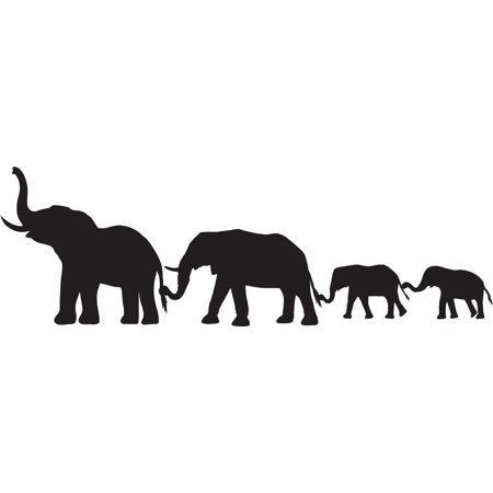 Elephant Family Animal Line Border Mother Father Kids Baby Silhouette Custom Wall Decal Vinyl Sticker Art 8 Inches X 14 Inches Kids Border Sticker