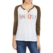 Peanuts Snoopy Juniors' Long Sleeve Burnout Raglan Two-Tone Henley Graphic T-Shirt by