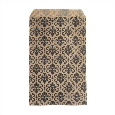 Paper Bag Crafts (Paper Gift Bags, for Jewelry and Crafts 6 x 4 Inches, Brown with Black Victorian Damask Pattern, 100)