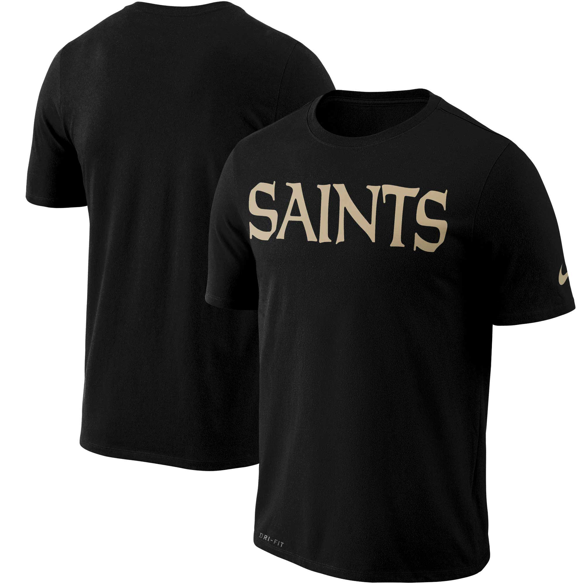 New Orleans Saints Nike Dri-FIT Cotton Essential Wordmark T-Shirt - Black