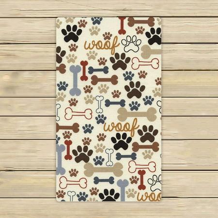 Dog Towel - GCKG Dog Paws and Bones Hand Towel,Spa Towel,Beach Bath Towels,Bathroom Body Shower Towel Bath Wrap Size 16x28 inches