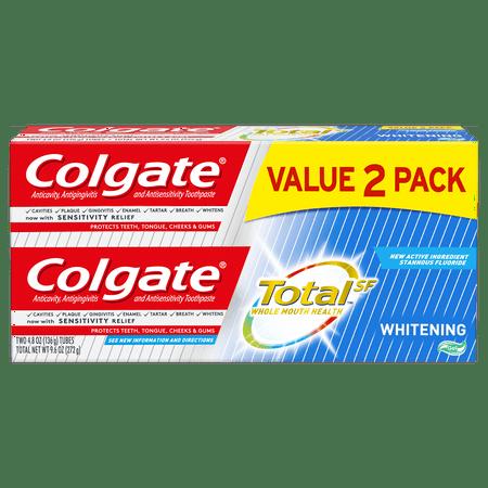 Colgate Total Whitening Toothpaste Gel, 4.8 ounce (2 Pack) Purpose Gel Toothpaste