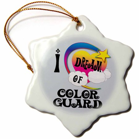 3dRose Cute Girly Heart Star Clouds I Dream Of Color Guard, Snowflake Ornament, Porcelain, (Porcelain Star Ornament)
