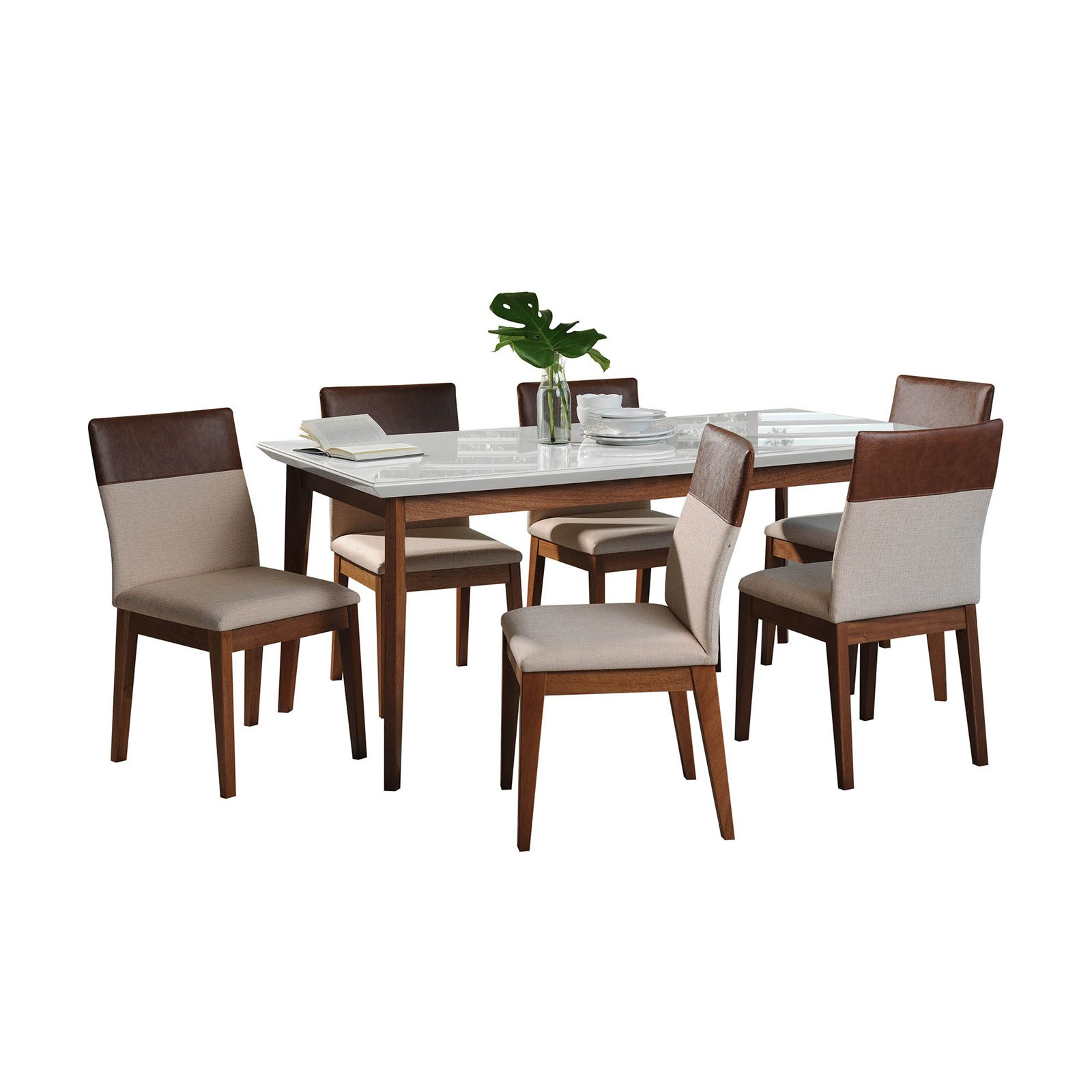 Manhattan Comfort Lillian and Duke 7 Piece Dining Table Set