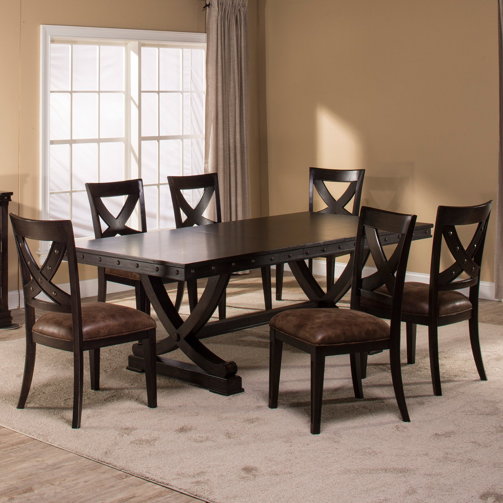 Hillsdale Santa Fe 7 Piece Dining Table Set Walmart Com Walmart Com