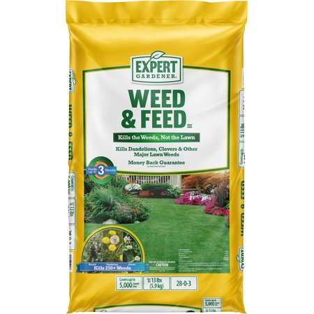 Expert Gardener Weed & Feed Lawn Fertilizer 28-0-3, 13 Pounds Covers up to 5,000 Square Feet