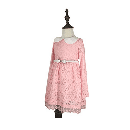 Girl Long Sleeve Lace Dress Lace Skirt with belt, Pink - Girls Dresses With Sleeves