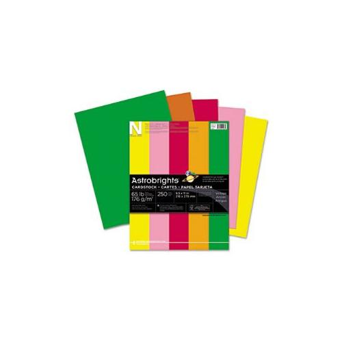 Astrobrights Colored Card Stock, 65 lbs., 8-1/2 x 11, Assorted, 250 Sheets - 21003