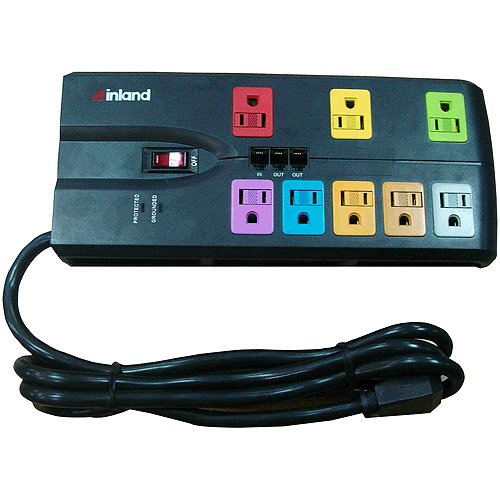 Inland 3600 Joules SurgeGuard 8 Outlet Black Surge Protector