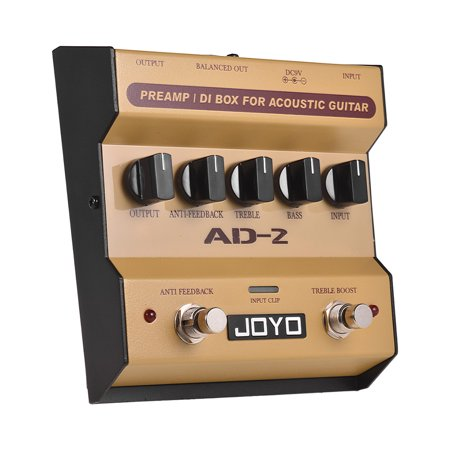- JOYO AD-2 Portable Preamp DI Box Acoustic Guitar Effect Pedal 2-Band Balance with 5 Basic Tune Adjustment Knobs for High-Sensitivity Feedback Acoustic Guitar Sound Effect