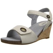 SoftWalk Women's Jordan Wedge Sandal, Light Grey, 7 W US