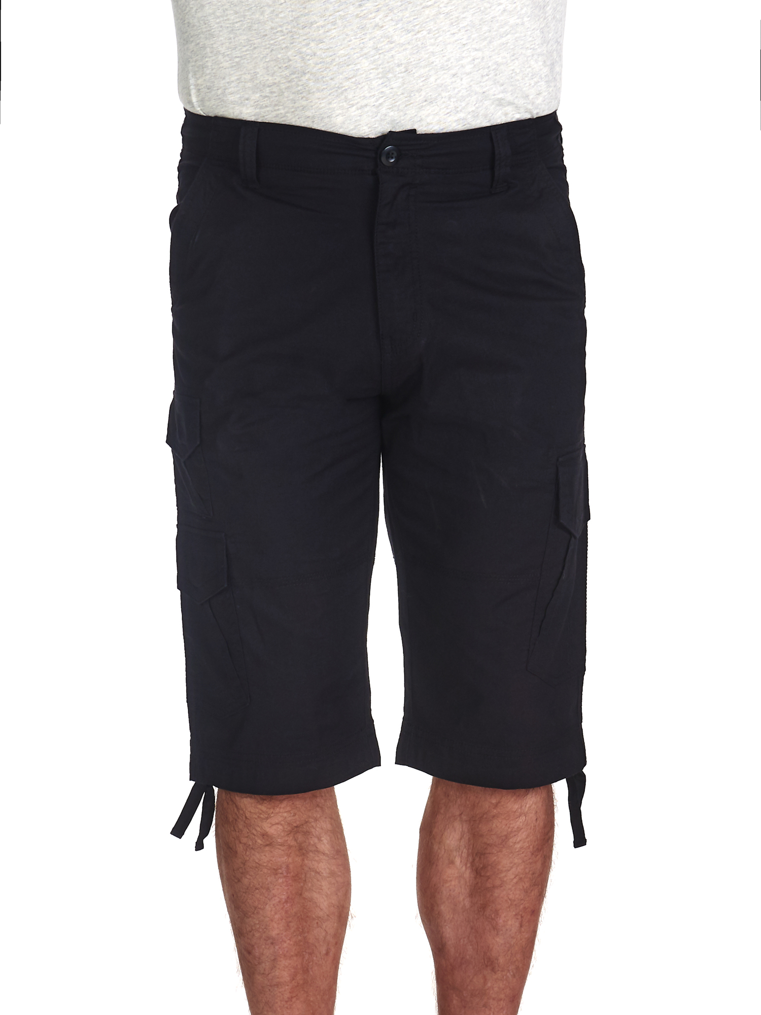 30, Red Mens Basic Belted Hip Hop Long Cargo Shorts P210AS