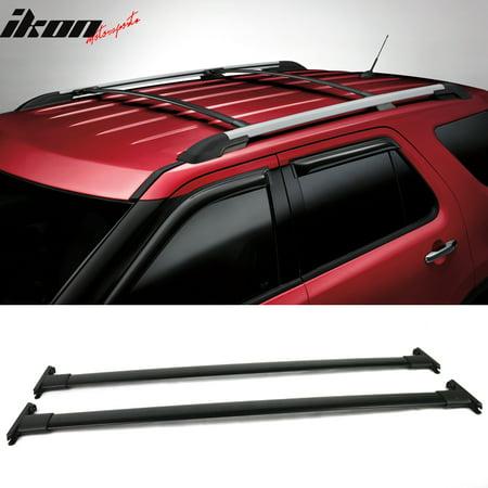 Compatible with 11-15 Ford Explorer Roof Rack Cross Bar Black 2Pc - Aluminum Ford Explorer Racks
