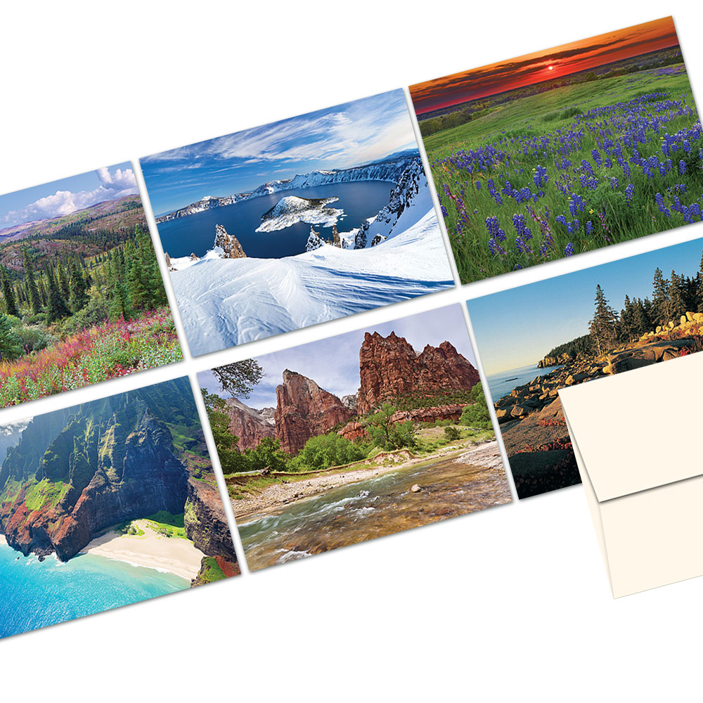 72 Note Cards - Scenic America - 6 Designs - Blank Cards - Off-White Ivory Envelopes Included