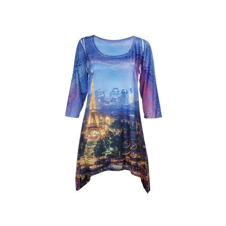 f6194b07f3a5f What on Earth - Women's Majestic Skylines Tunic Top - Sharkbite Hem - Paris  - Walmart.com