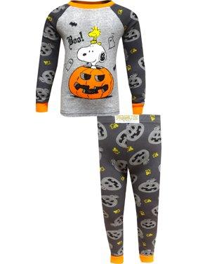 Peanuts boys' halloween pumpkins 2-piece tight fit cotton pajama set