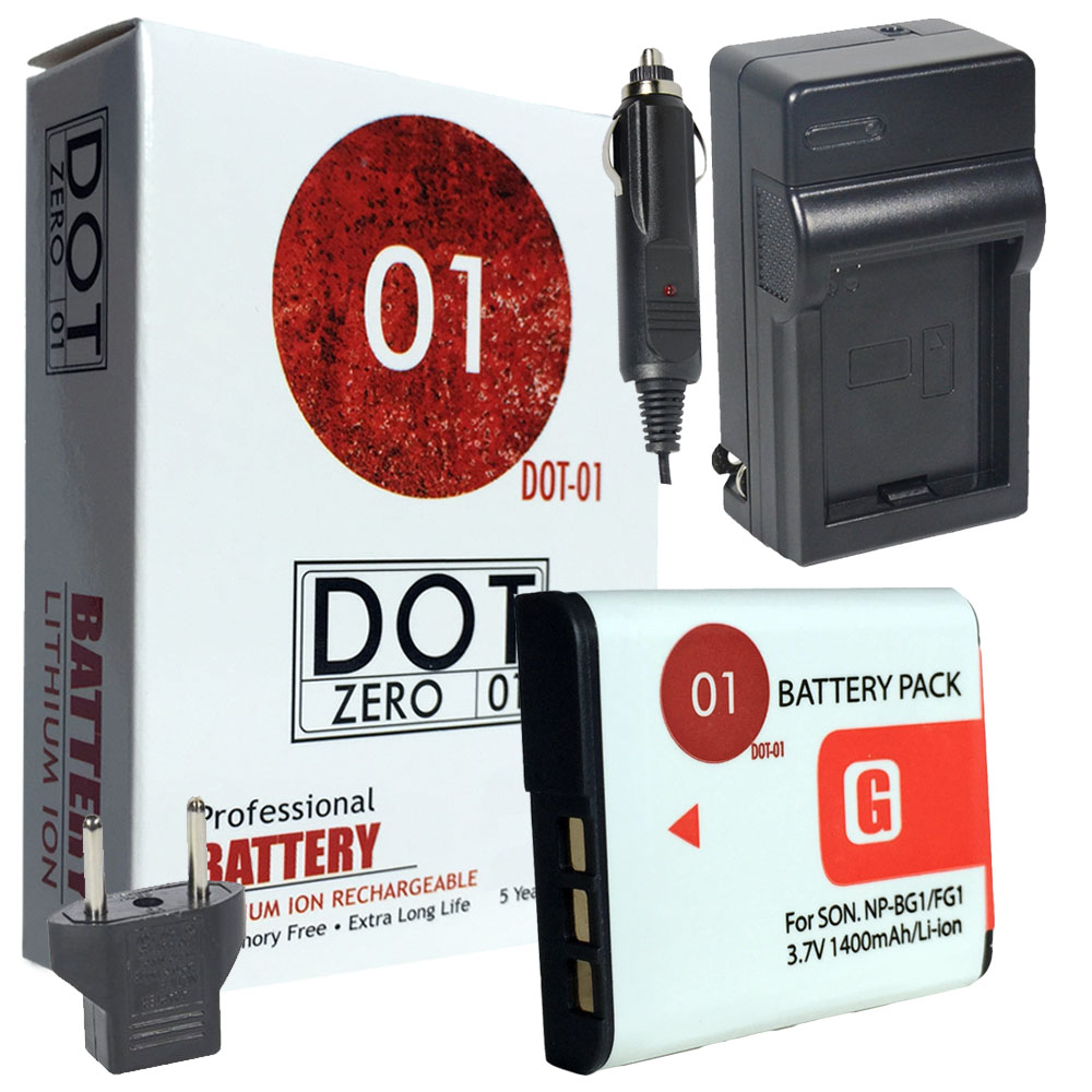 DOT-01 Brand 1400 mAh Replacement Sony NP-BG1 Battery and Charger for Sony DSC-H90 Digital Camera and Sony BG1