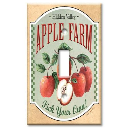 Art Plates brand - Single Gang Toggle Wall Plate - Apple Farm - Farm Plates