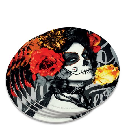 Dia De Los Muertos Tattoos (Dia de los Muertos Day of the Dead Woman Tattoo Novelty Coaster)