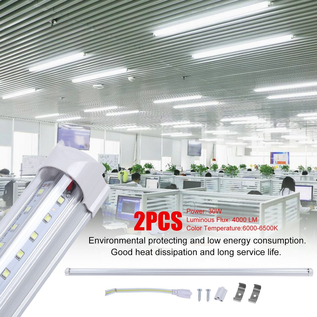 2 Pcs T8 V Shape Super Bright 1.2 Meters LED Lamp Tube 30W 6000-6500K Energy Saving Shops Hotels Replacement Light