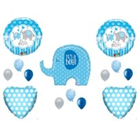 NEW! IT'S A BOY ELEPHANT Baby Shower Balloons Decoration Supplies Zoo Blue