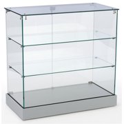 Retail Display Cabinet with Frameless Design, Tempered Glass Case with 2 Shelves, Swing-open Door, MDF Base (Silver) (2093CNTSL)