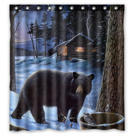 GCKG Winter Bear Waterproof Polyester Shower Curtain Bathroom Deco 66x72 inches