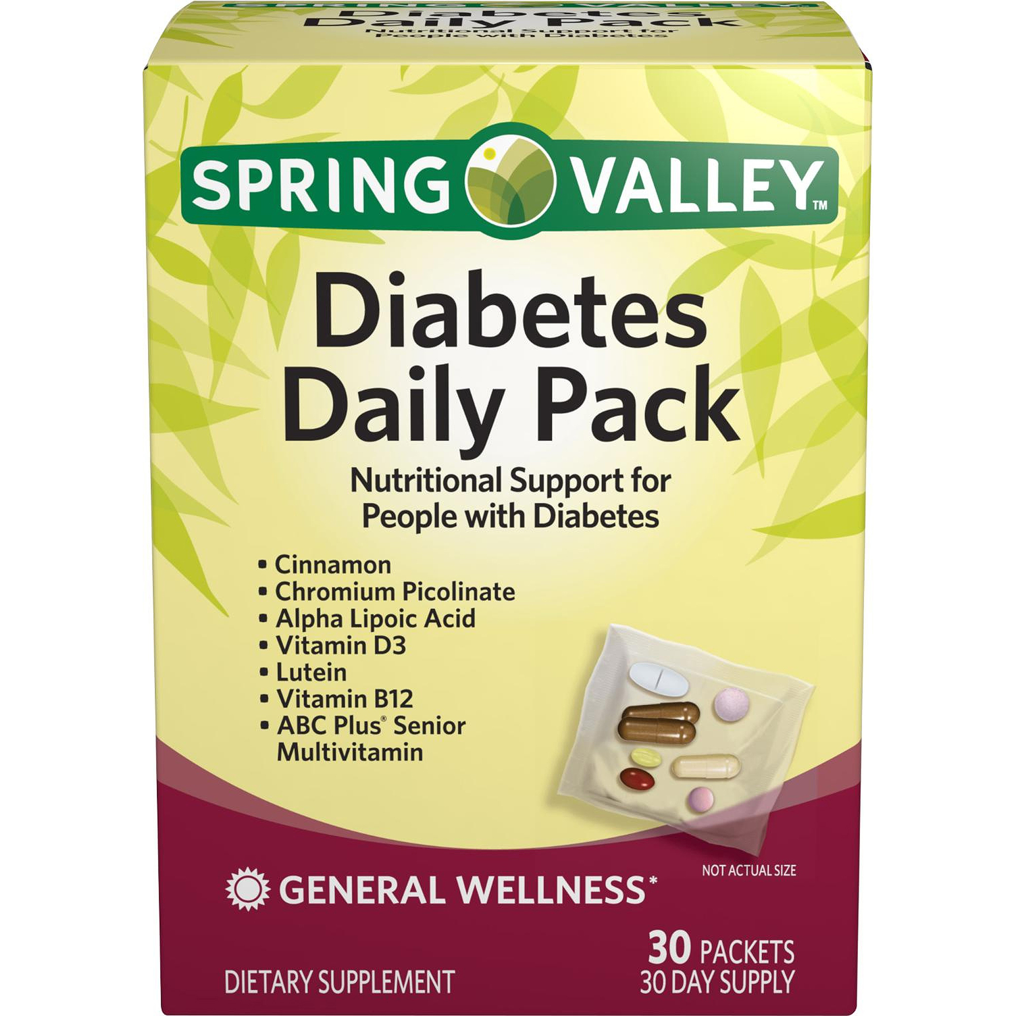 Spring Valley Diabetes Daily Pack Dietary Supplement Packets, 30 count