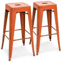 "Best Choice Products 30"" Set of 2 Modern Industrial Distressed Metal Bar Stools (Orange) by Best Choice Products"