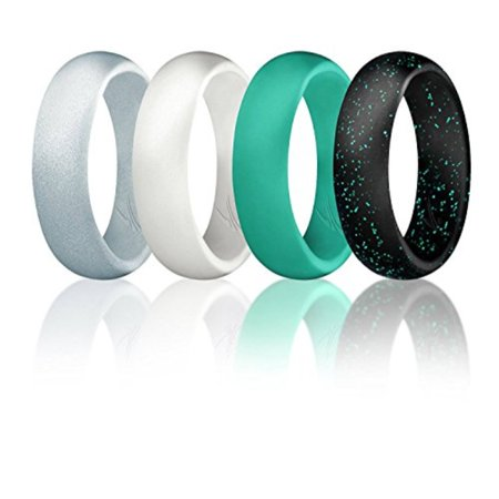 ROQ Silicone Wedding Ring for Women, Set of 4 Silicone Rubber Wedding Bands - Black with Glitter Sparkle Teal, Teal Turquoise, White, Metal Look Silver - Size 7