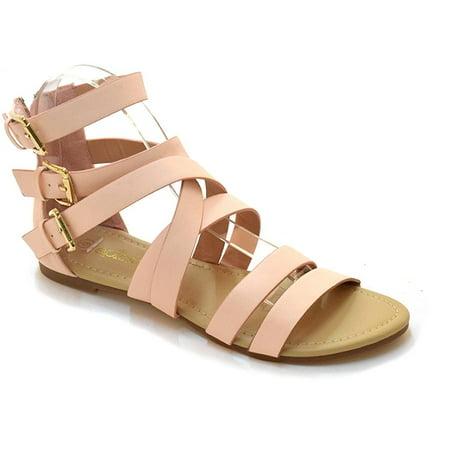 238eb6b19e66 Shop Pretty Girl - Women Open Toe Vegan Leather Gladiator Sandal Ankle Strap  Cage Cutout Flat Strappy Flats-Sandals - Walmart.com