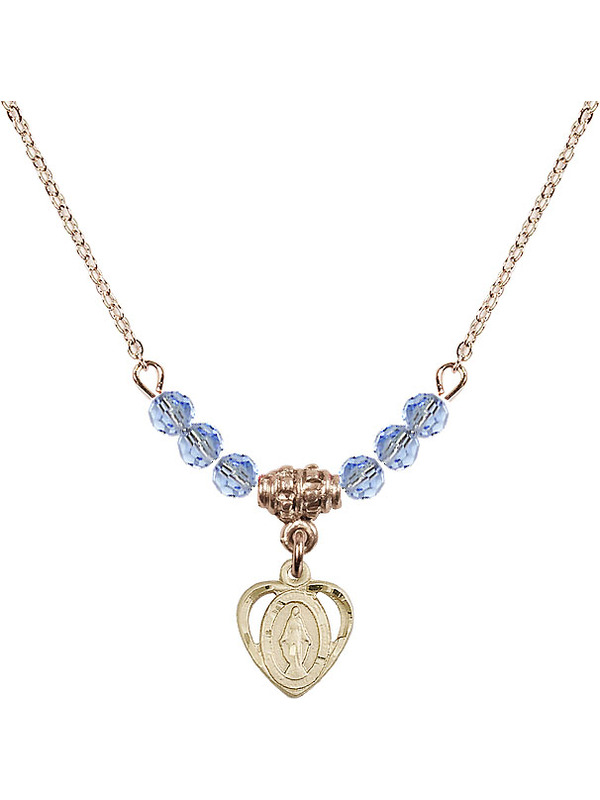Bonyak Jewelry 18 Inch Hamilton Gold Plated Necklace w// 6mm Blue March Birth Month Stone Beads and Guardian Angel Charm