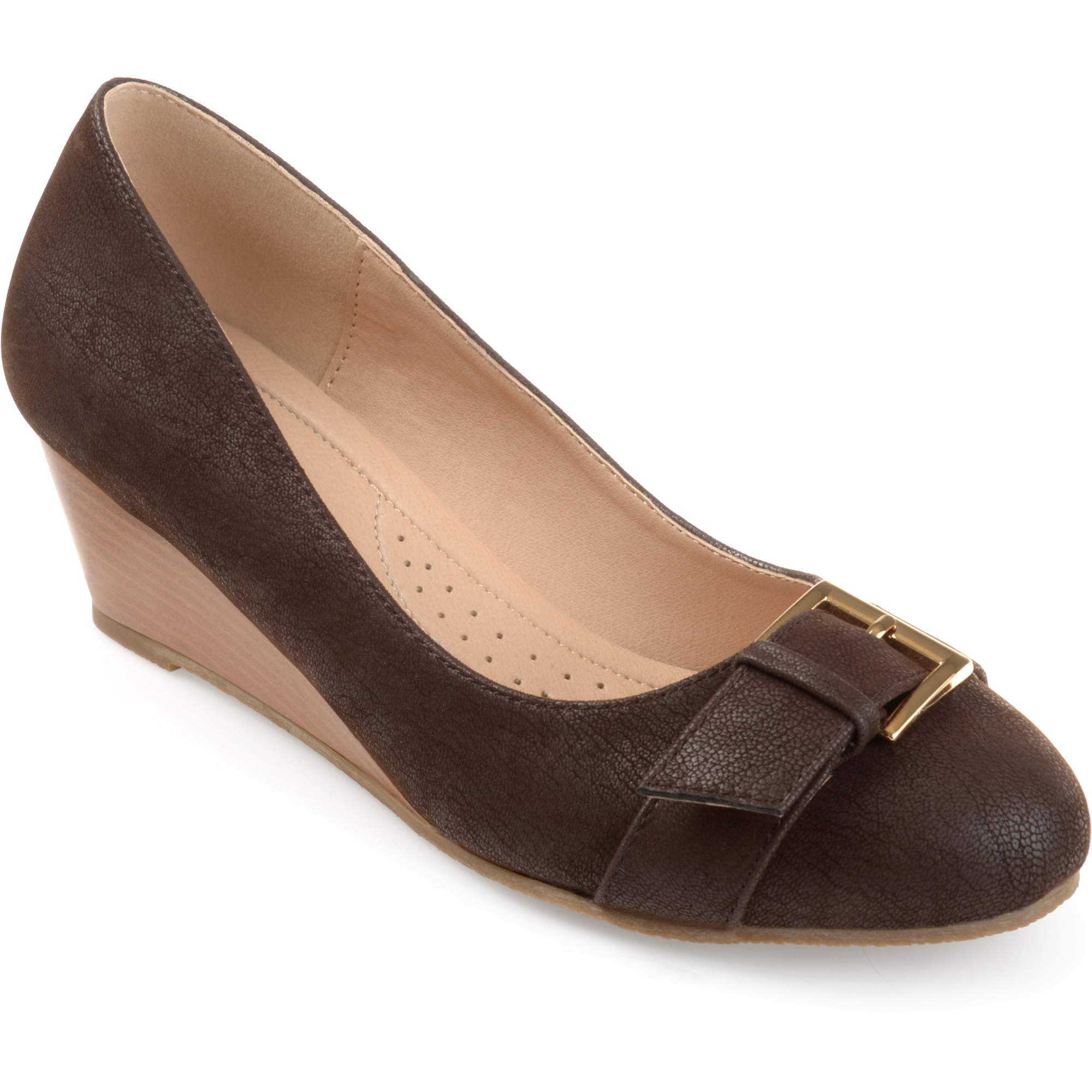 Brinley Co. Women's Faux Suede Buckle Detail Comfort-sole Wedges