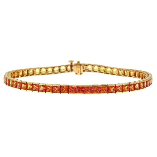 Asher Jewelry 14k Yellow Gold 12 1 2ct TGW Orange to Yellow Sapphire Bracelet by Overstock