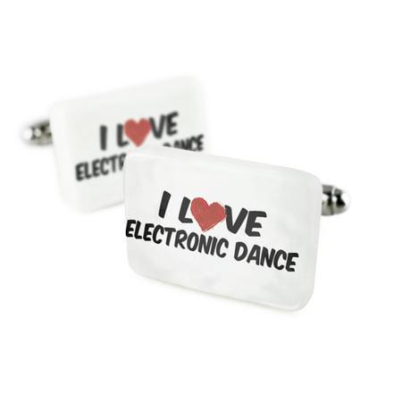 Cufflinks I Love Electronic Danceporcelain Ceramic Neonblond
